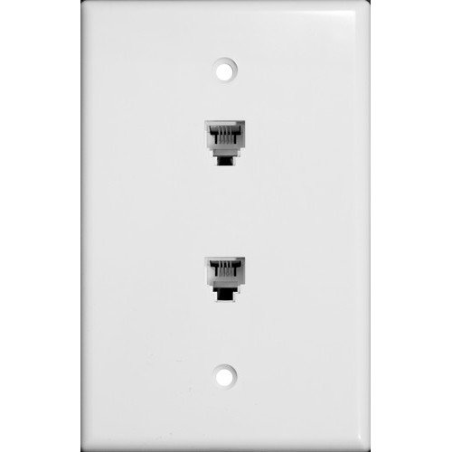 (Morris 86021 Double RJ11 6 Conductor Phone Jack Wall Plate, White)