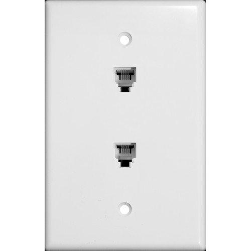 Rj11 Phone Wall Plate (Morris 86021 Double RJ11 6 Conductor Phone Jack Wall Plate, White)