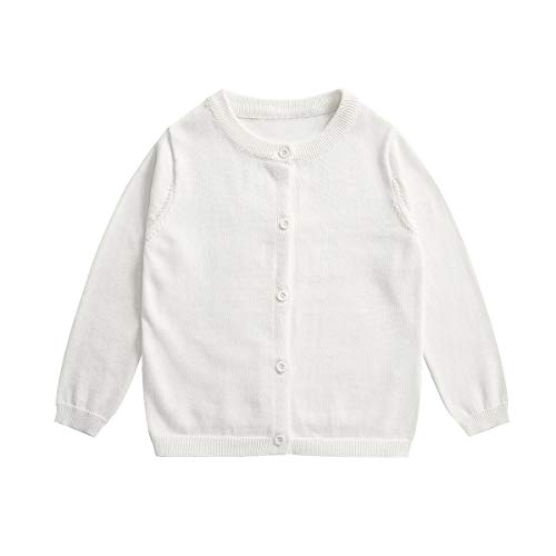 (Little Girl Knit Cardigan Sweater - Toddler Button Down Solid Cardigan Cotton 3T White)