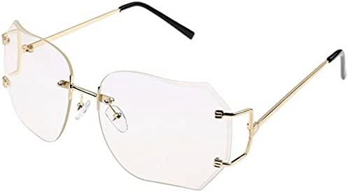 CY SUN OVERSIZE RIMLESS CLASSIC VINTAGE RETRO Style EYE GLASSES Gold Frame (Gold, Pink)