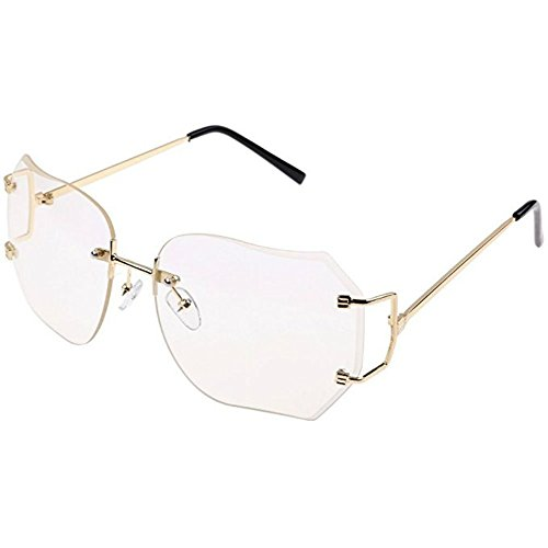 CY SUN OVERSIZE RIMLESS CLASSIC VINTAGE RETRO Style EYE GLASSES Gold Frame (Gold, - For Trendy Women Frames Glasses