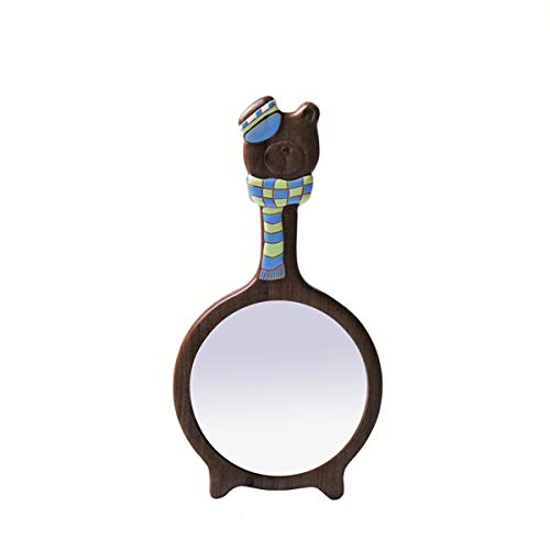 RMXMY Manija Linda Espejo de Madera Retro Simple Ambiente Creativo portátil Princesa Espejo vanidad Espejo