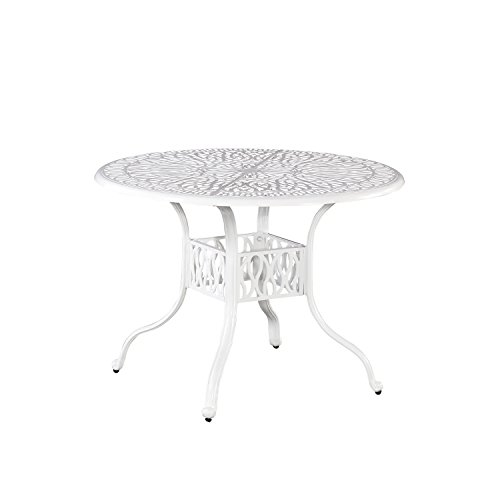 Floral Blossom White Round Outdoor Dining Table, 42 by Home Styles