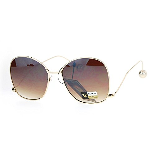 Womens Drop Temple Swan Arm Thin Metal Butterfly Sunglasses Gold - Swans Sunglasses