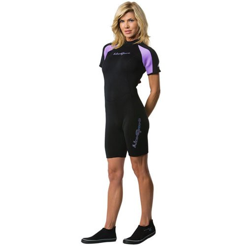 NeoSport Wetsuits Women's Premium Neoprene 3mm Shorty, Lavender Trim, 8 - Diving, Snorkeling & Wakeboarding Neoprene Neck Shield