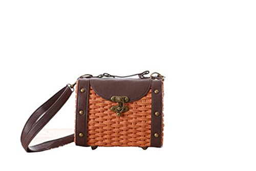 Shoulder Bag Vintage Pu Knitted Handbag Body Cross Boho Straw Leather Handmade Orange 6qUqzI