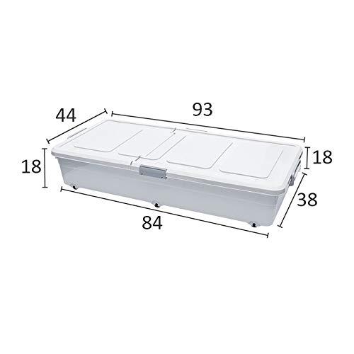 Sealed Storage Box - Pulley Flat Plastic Storage, Bed Bottom Storage Box White ()