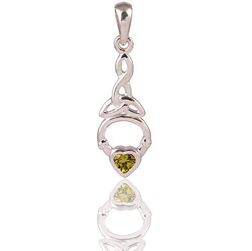 DTPsilver - Pendentif Femme en Argent Fin 925 avec Peridot - Coeur Noeud Celtique