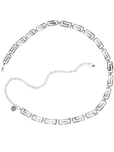 Tone Silver Chain Belt Link (Plus Size Silver Tone Classic Greek Key Chain Link Belt)