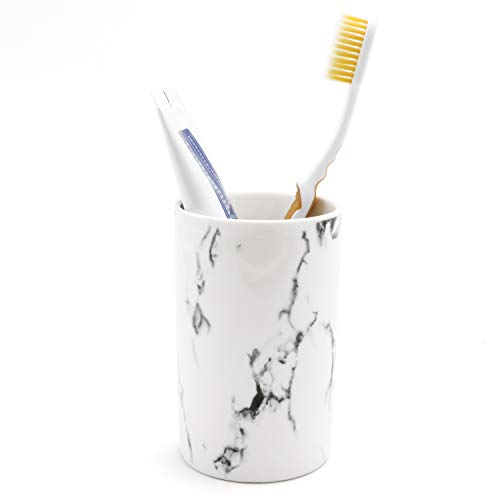 - LUANT Ceramic Bathroom Tumbler Cup for Mouthwash/Rinsing, Toothbrush and Toothpaste Holder Stand