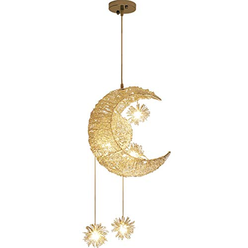 Creative Moon Star Fairy LED Pendant Lamp Chandelier Ceiling Light Children Kids Bedroom Decoration, B