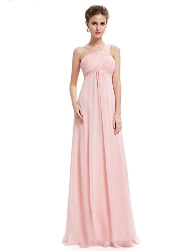 Ever-Pretty Womens One Shoulder Empire Waist Long Prom Dress 6 US Pink