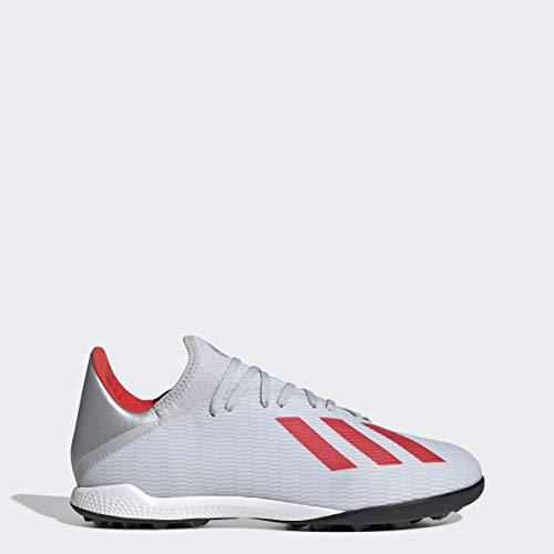 adidas Men's X 19.3 Turf Soccer Shoe, Silver Metallic/hi-res red/White, 8.5 M US