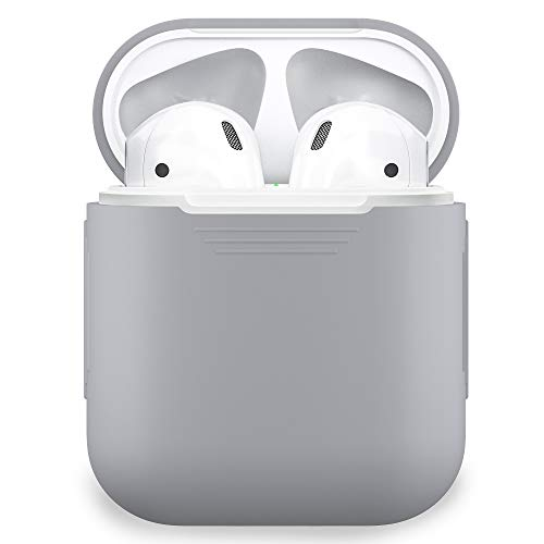PodSkinz AirPods Case Protective Silicone Cover and Skin for Apple Airpods Charging Case (Grey/Earl Grey)
