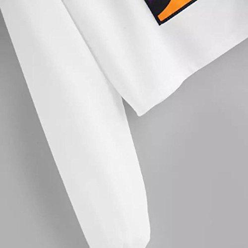 Femmes Tops Nouveau Blanc Cou Manches Blouse Imprim Printemps Casual Automne zahuihuiM Sweat Longues O Mode Capuche fwZdIBqO