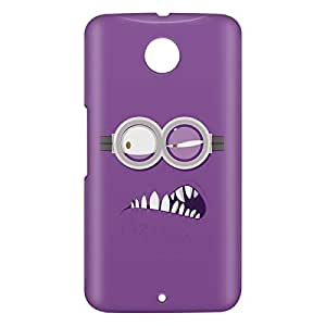 Loud Universe Motorola Nexus 6 3D Wrap Around Evil Minion Face Print Cover - Purple