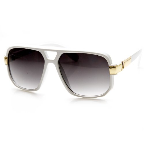 zeroUV - Classic Square Frame Plastic Flat Top Aviator Sunglasses (White)