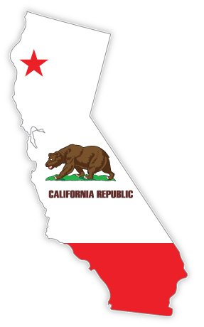 California state map flag sticker decal 3