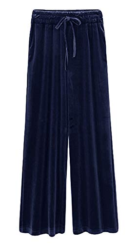 (Itemnew Women's Casual Elastic Waist Relaxed Fit Wide-Leg Pleated Palazzo Slacks Velvet Pants (X-Large, Navy))