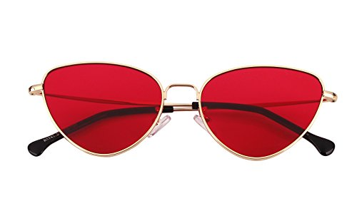 Beison Womens Cat Eye Mod Metal Glasses Fashion Sunglasses (Gold / Red lens, - Red Cats Rimmed Eyes