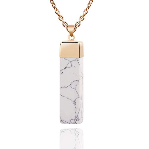 Marble Pendant Necklace - JOYID Natural Marble Stone Bar Pendant Necklace Cube Geometric Personalized Jewelry for Women, White