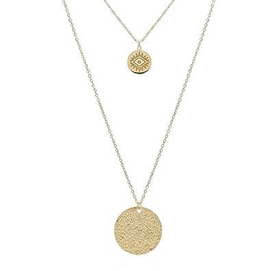 mieux Découvrez factory Zag Bijoux Collier 2 Rangs médaille martelée et Oeil (doré ...