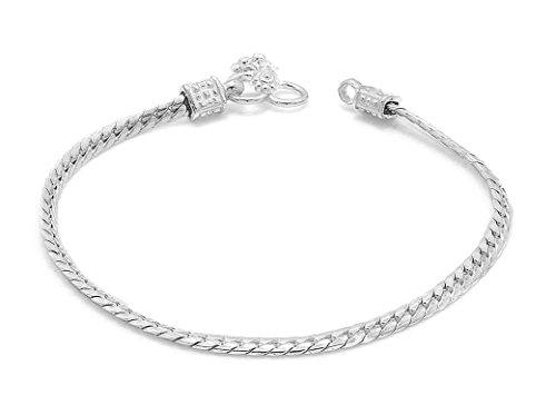 D&D Crafts Sterling Silver Interlink Anklets For Girls, Women by D&D (Image #2)