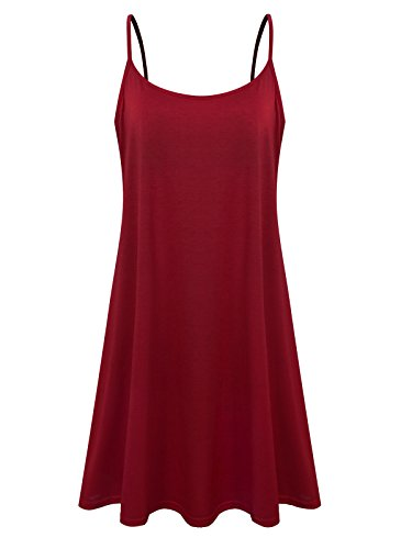 Plus Size Sundress Slip Sleeveless Summer Dress for Women (Wine Red,3X)