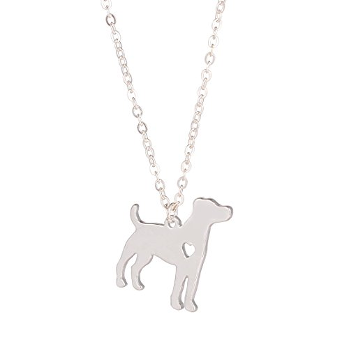 Russell Jack Necklace (YuQiang Silver Jack Russell Terrier Dog Pendant Jewelry Breed Pet Jewelry Memorial Gift Hunters lovers)