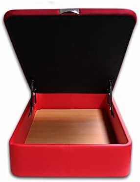 Ventadecolchones - Canapé Abatible Serena Gran Capacidad Tapizado en Polipiel Rojo Medidas 180 x 200 cm en Tejido 3D (2 und 90 x 200)