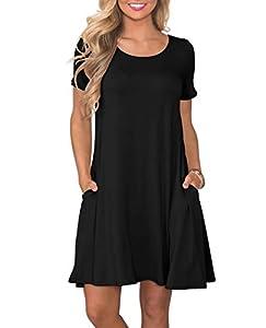 KORSIS Women's Summer Casual T Shirt Dresses Short Sleeve Swing Dress with Pockets