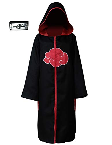 Angelaicos Unisex Halloween Cosplay Costume Uniform Black Cloak with Headband (S, Hoodie Cloak)
