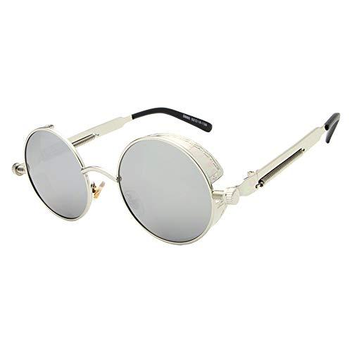 De FKSW Gafas Sol con Redondo Unisex Gafas Recubrimiento Steampunk Sol Gafas Negro De Gafas De Silver para Espejo Silver Oro Mujer Sol Hombre De vwFfSvqr