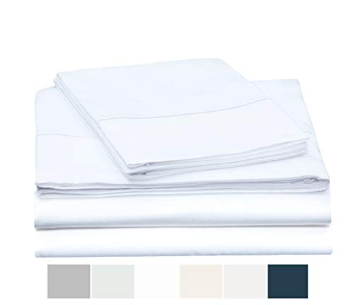 ONE PARK LINENS Organic Cotton Sheet Set GOTS Certified – Sateen Weave Eco Friendly 400 Thread Count Luxurious and Soft - Queen, White