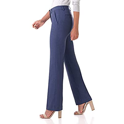 Rekucci Women's Smart Stretch Desk to Dinner Straight Leg Pant w/Zipper Closure at Women's Clothing store