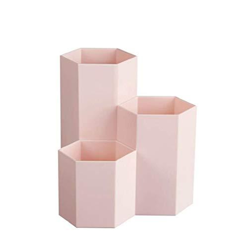 IslandseMultipurpose Plastic Pen Container Creative Hexagon Vase Desk Decoration (Pink) ()