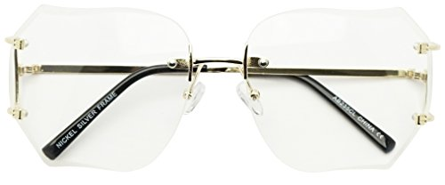 Oversized 70s Classic Large Rimless Laser Cut Lens Sunglasses Women's Frameless Clear Lenses Eyewear Glasses (Gold | Clear Lens, - Sunglasses 1970s