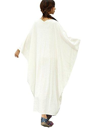 Youlee Mujer Verano Mariposa Vestidos Batwing Manga Vestir Blanco