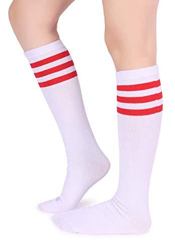 Pareberry Unisex Triple Stripes Soft Cotton Knee High Tube Socks (Red/White)]()