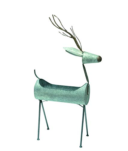 Transpac Imports D1422 Large Galvanized Metal Reindeer Container