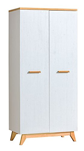 Drehtürenschrank   Kleiderschrank Panduros 01, Farbe  Kiefer Weiß   Eiche Braun - Abmessungen  185 x 85 x 52 cm (H x B x T)