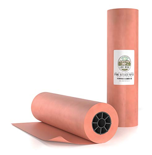"Peach Butcher Paper Roll 18"" X 200' FEET, Made in USA - FDA Food Grade Pink Butcher Paper for Smoking Meat - Cooking Beef Brisket on Smoker Grill or Big Green Egg Grill, Runner for Butcher Block"