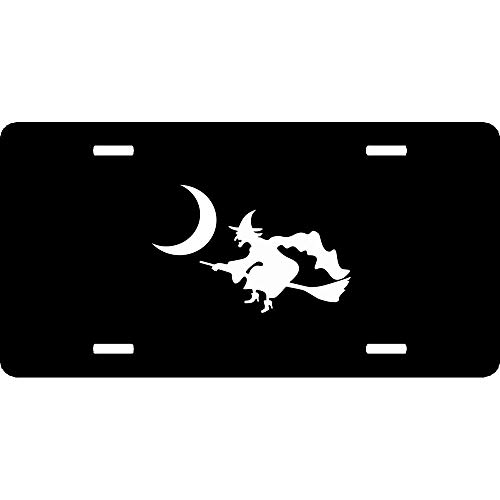 URCustomPro Witch Flying Broom Moon Spooky Silhouette Halloween Premium License Plate Cover for Front of Car Decoration, Humor Funny Aluminum Metal Auto Car Tag Sign 4 Holes (12
