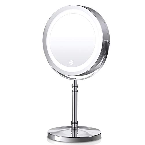 Dual-sided Makeup Mirror, 7 inch 1X/10X Magnifying Mirror with LED Lights, 360 Degree Rotation Plug or Battery Operated Ring Light Beauty Cosmetic Mirror