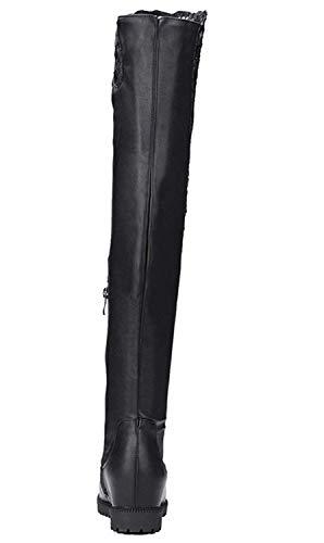 Pour Cuissarde Dentelle Hiver Noir Plate Chaussures En Femme Chaude Ye Confor Botte Longue w8v7P1qF