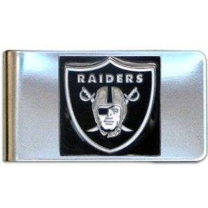 Oakland Raiders Card Holder (NFL Oakland Raiders Stainless Steel Hand Painted 3D Logo Card Holder / Money Clip)