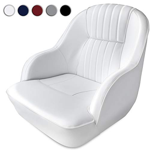 - Leadpro Pontoon Captains Bucket Boat Seat Boat Chair (White w/White Piping)