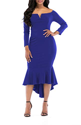 - onlypuff Blue Fishtail Dress Long Sleeve Bodycon Dress Cocktail Mermaid Off Shoulder XXL