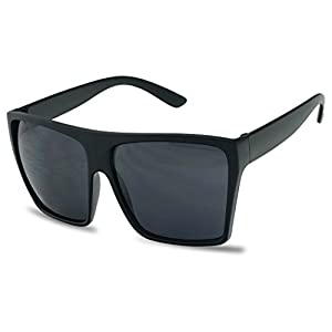 SunglassUP Extra Large Square Retro Flat Top Oversized Aviator Sunglasses (Matte Black, Dark Black)