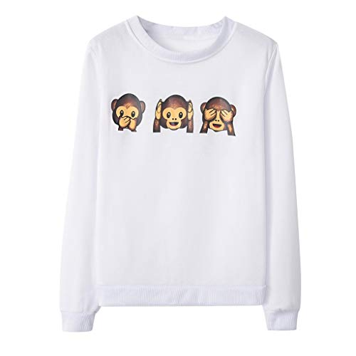 GHrcvdhw Women's Stylish Monkey Printed Long-Sleeved Round-Neck Easy Student Breathable T-Shirt Tops White